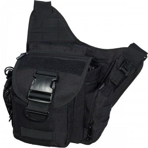 Сумка-органайзер TAC на плечо тактическая MOLLE черная