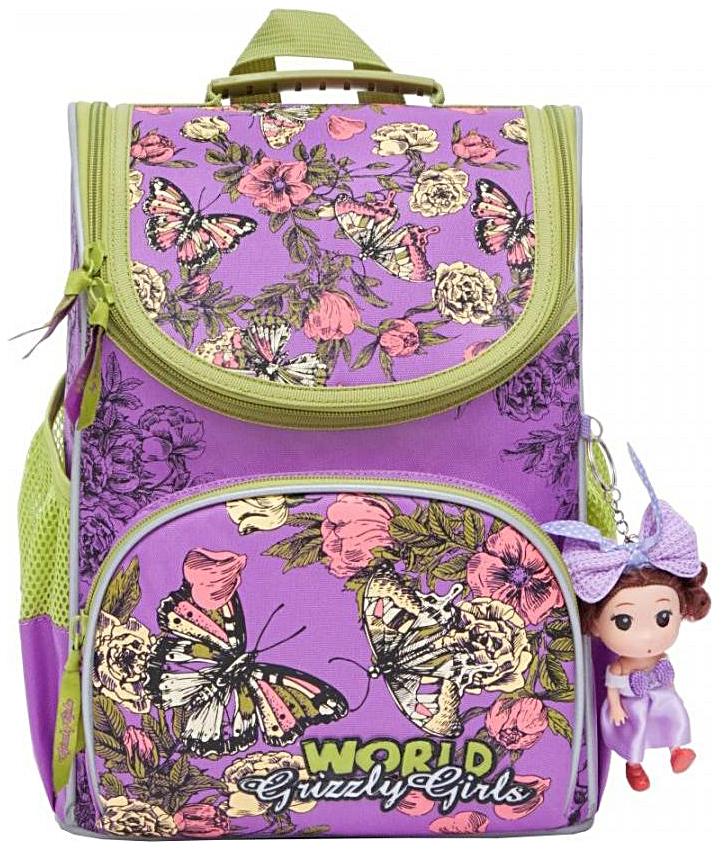 Рюкзак детский Grizzly RA-873-4 Бабочки лиловый с мешком для обуви