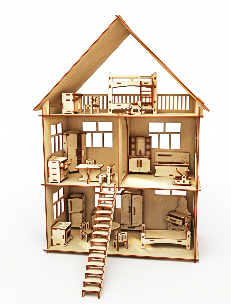 Купить Конструктор-кукольный домик ХэппиДом Коттедж с мебелью из дерева, Хэппикон, Кукольные домики