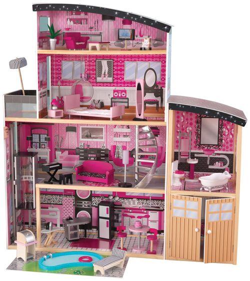Купить Кукольные домики, Большой кукольный дом для Барби KidKraft Сияние с мебелью 30 элементов,