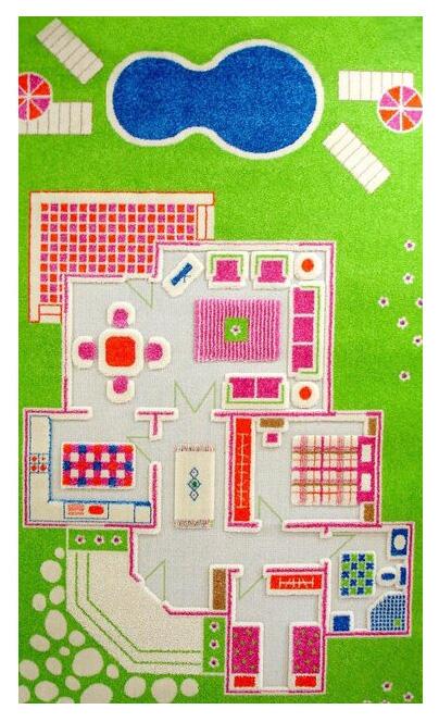 Детский игровой 3D-ковер IVI Домик зеленый 100 х 200 см