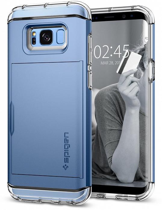 Чехол-визитница Spigen Crystal Wallet (571CS21118) для Samsung Galaxy S8 Plus (Coral Blue)