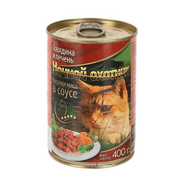 Консервы для кошек Ночной Охотник, говядина, печень, 400г фото