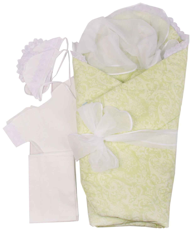Комплект на выписку Крошкин дом, цв. белый; зеленый р.56