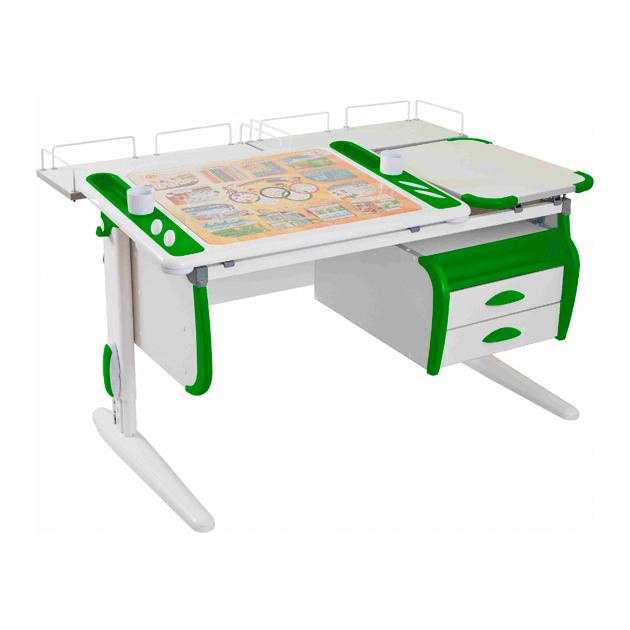 Парта-трансформер Дэми Techno СУТ 31-04 с и задней белый, зеленый, белый,