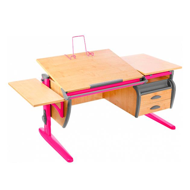 Парта-трансформер Дэми СУТ 17-03К 120 см+ тумба+боковая приставка, клен, розовый, фото