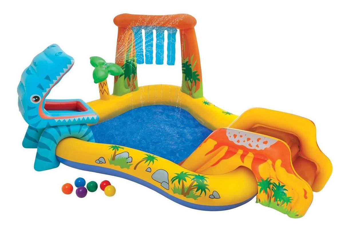 Купить Динозавр, Intex игровой центр 249х191х109см динозавр с горкой, Детские бассейны