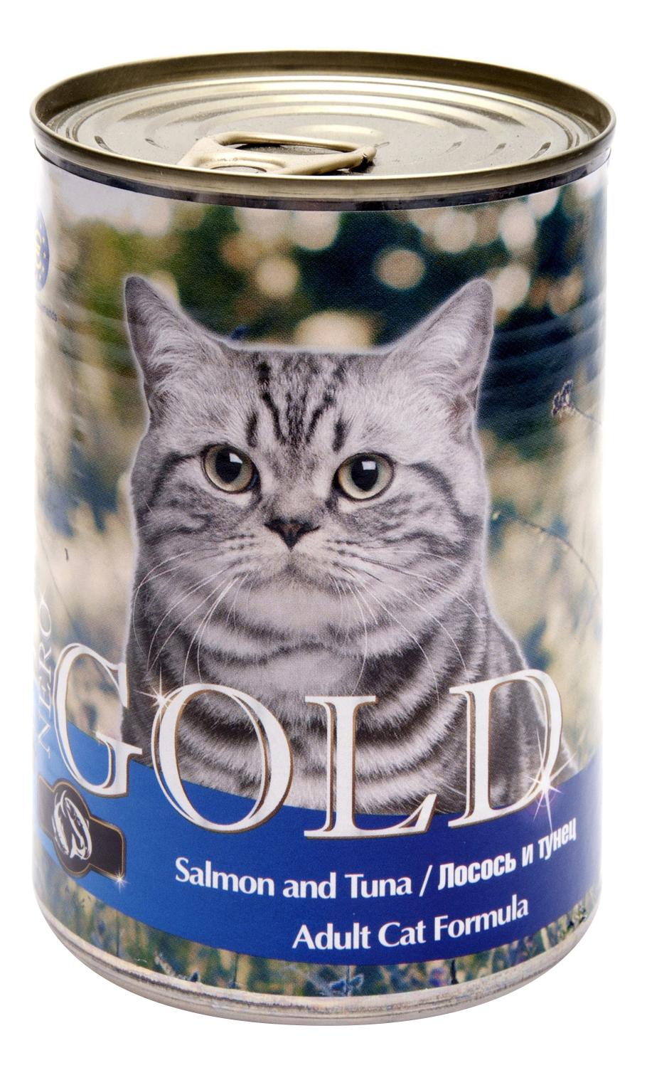Консервы для кошек NERO GOLD, лосось, рыба, 12шт, 810г