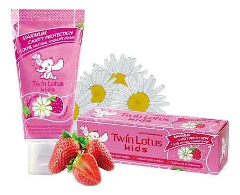 Купить Зубная паста детская клубника и ромашка, Зубная паста детская Twin Lotus Chamomile&strawbery (Клубника И Ромашка) 50Мл, Детские зубные пасты