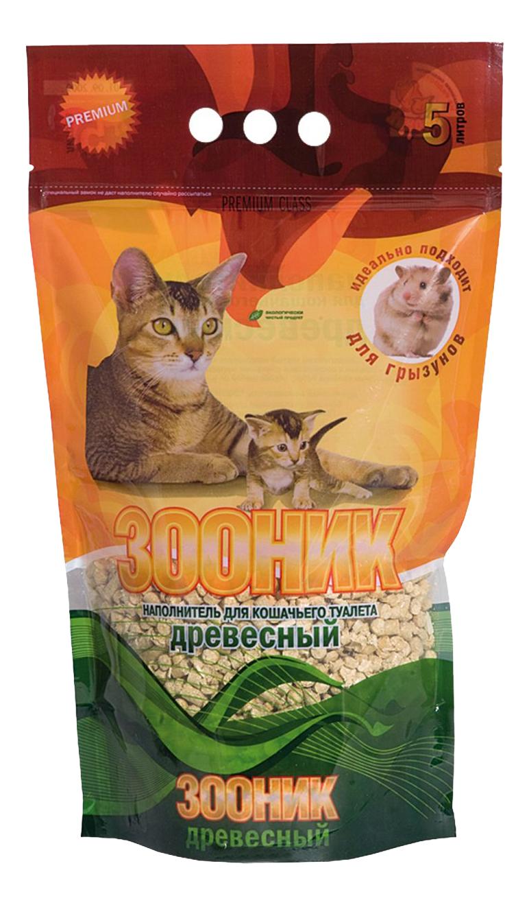 Впитывающий наполнитель для кошек Зооник древесный, 4 кг, 5 л фото