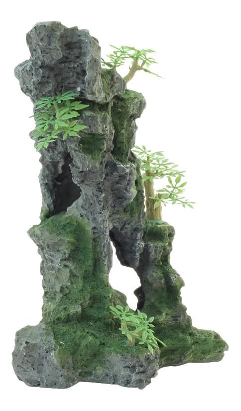 Грот для аквариума Laguna Скала с деревьями 002KD, полиэфирная смола, 23х17,5х32 см фото