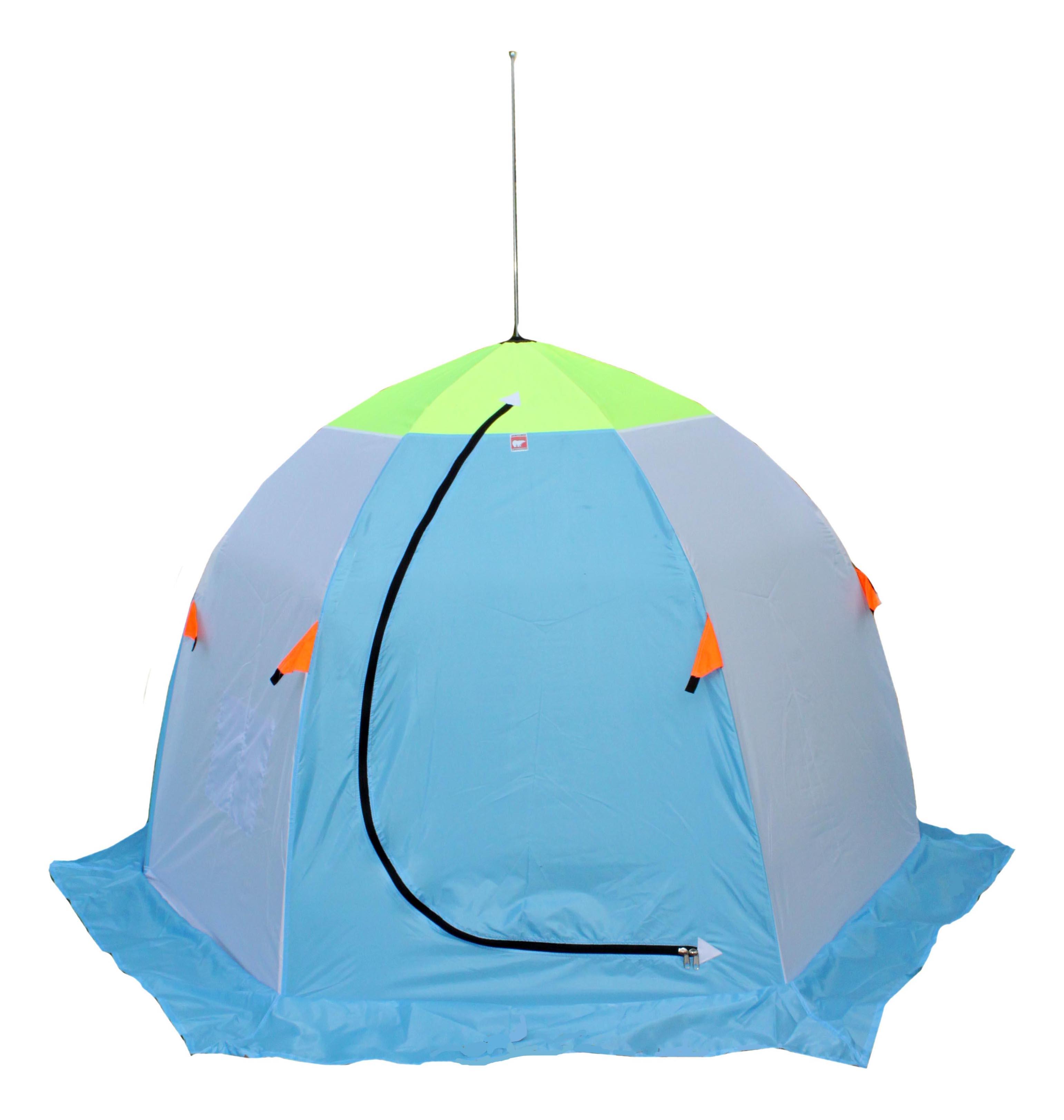 Палатка Медведь 2 двухместная белая/зеленая/голубая