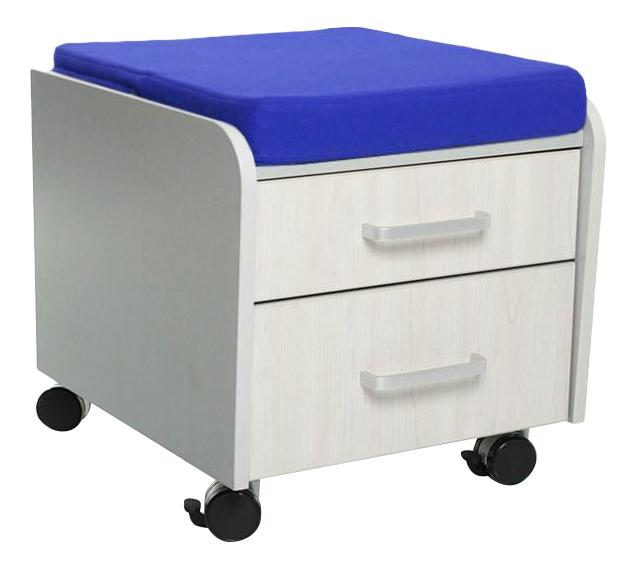 Комод пеленальный Comf-Pro BD-C2 белый дуб с синей подушкой фото