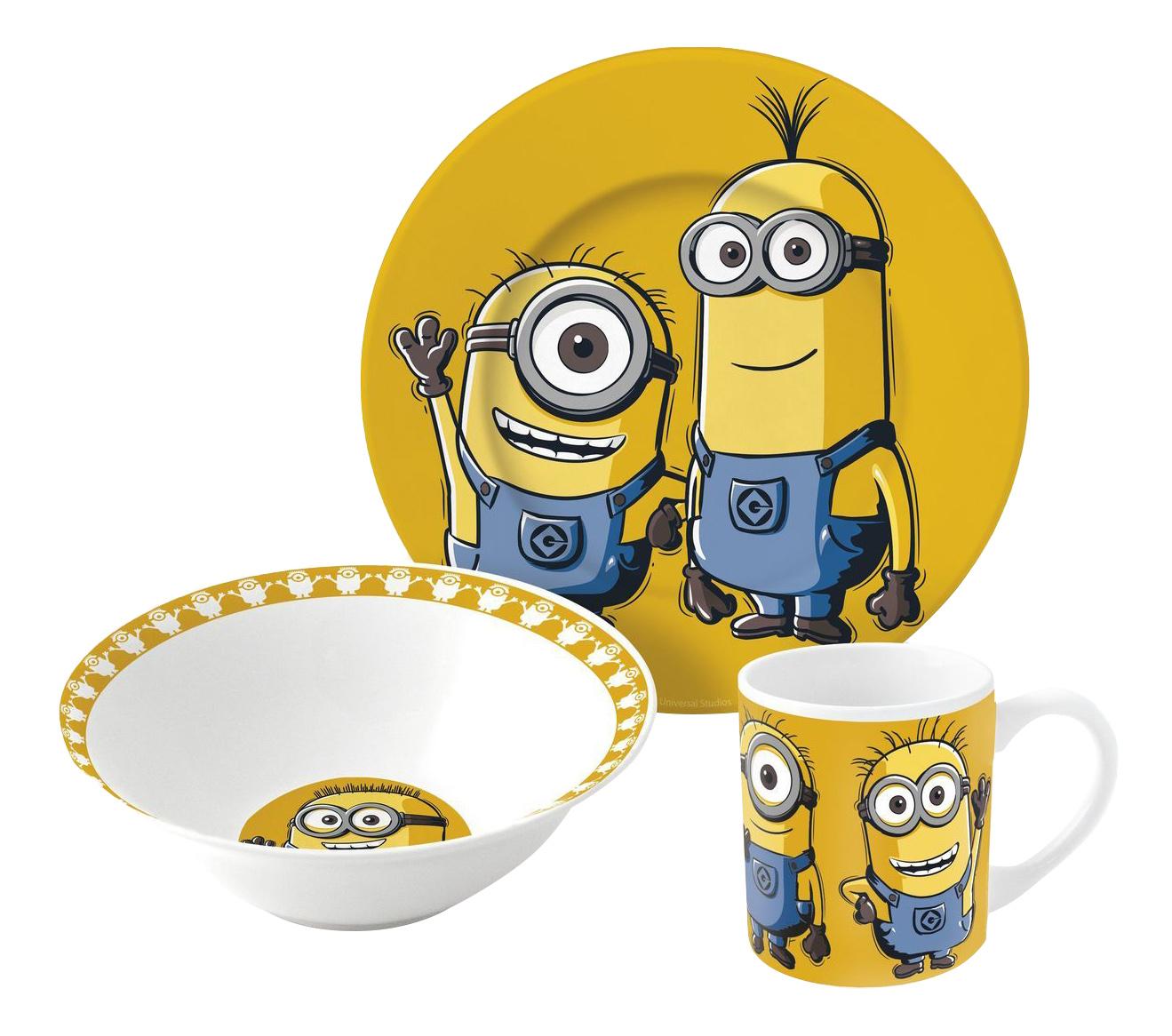 Купить 252347, Набор посуды керамической в подарочной упаковке (3 предмета), Миньоны оранжевый, Stor, Наборы детской посуды