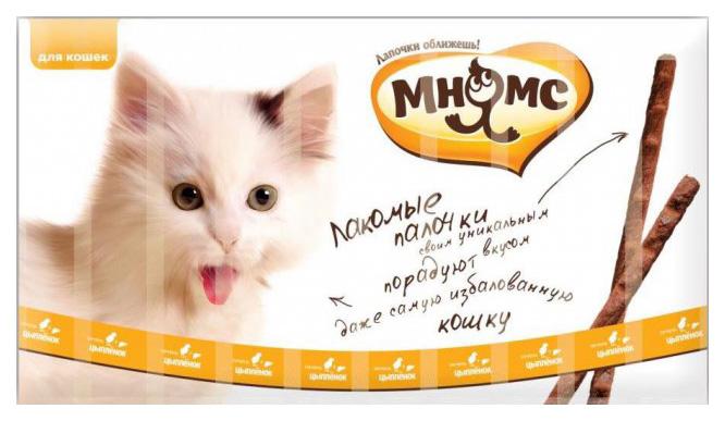 Мнямс лакомые палочки 13,5 см для кошек с цыпленком и печенью 10х5 г фото