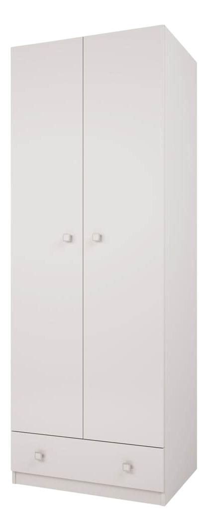 Купить Детский шкаф двухсекционный Polini Simple с 1 ящиком, белый, Шкафы в детскую комнату