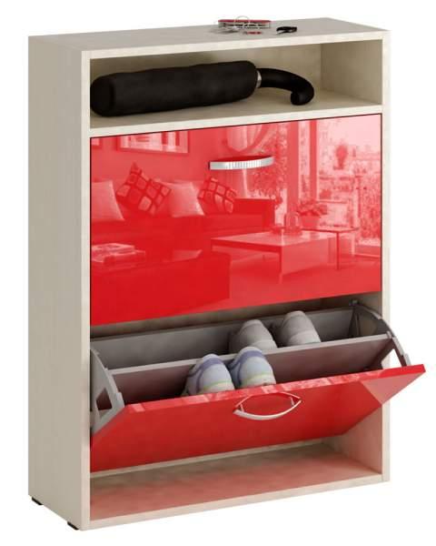 Обувница MFMaster Милан-25 МСТ-ОДМ-25 60х22,2х88,2 см, дуб молочный/красный глянец