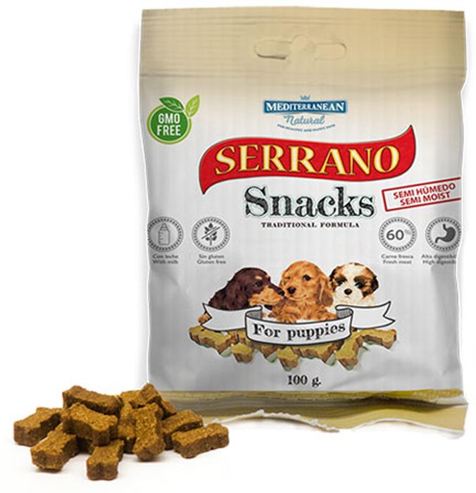 Лакомство для щенков Serrano Snacks, косточки, мясо, 100г фото