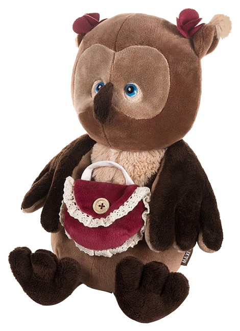 Купить Мягкая игрушка Романтичная Сова с красной сумочкой, 25 см, арт. MT-GU092018-6-25, Maxitoys,