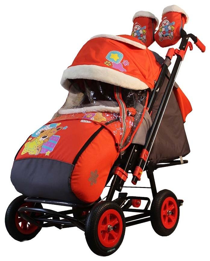 Санки-коляска Galaxy Snow City-2 Мишка со звездой на красном, сумка + варежки,  - купить со скидкой