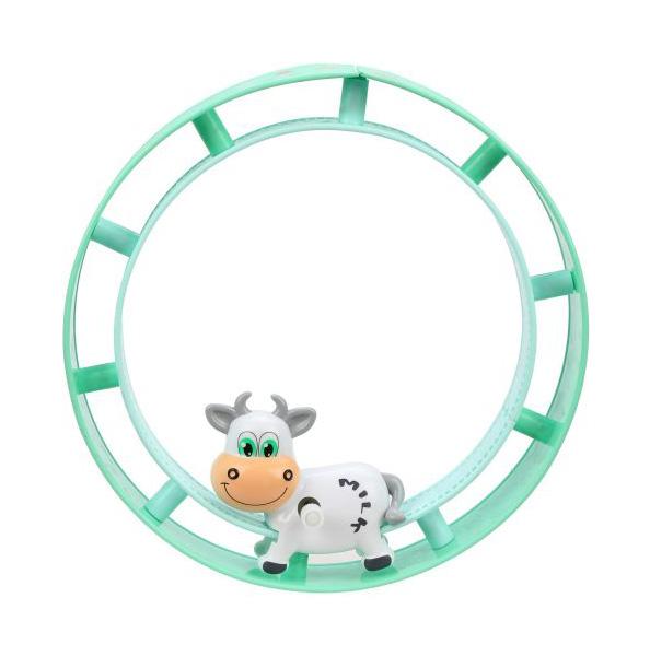 Бегущее колесо заводное Буренка, блистер
