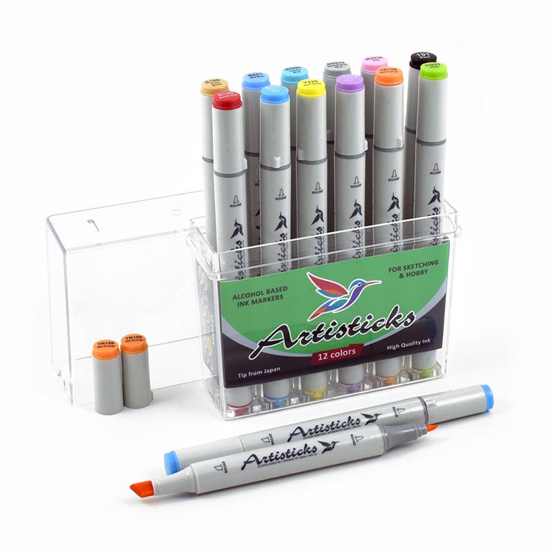 Набор маркеров для рисования Artisticks Basic 12 цветов, двусторонние 1-6 мм