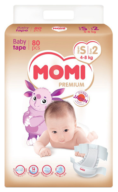 Купить Подгузники Momi Premium 4-8 кг 80 шт,