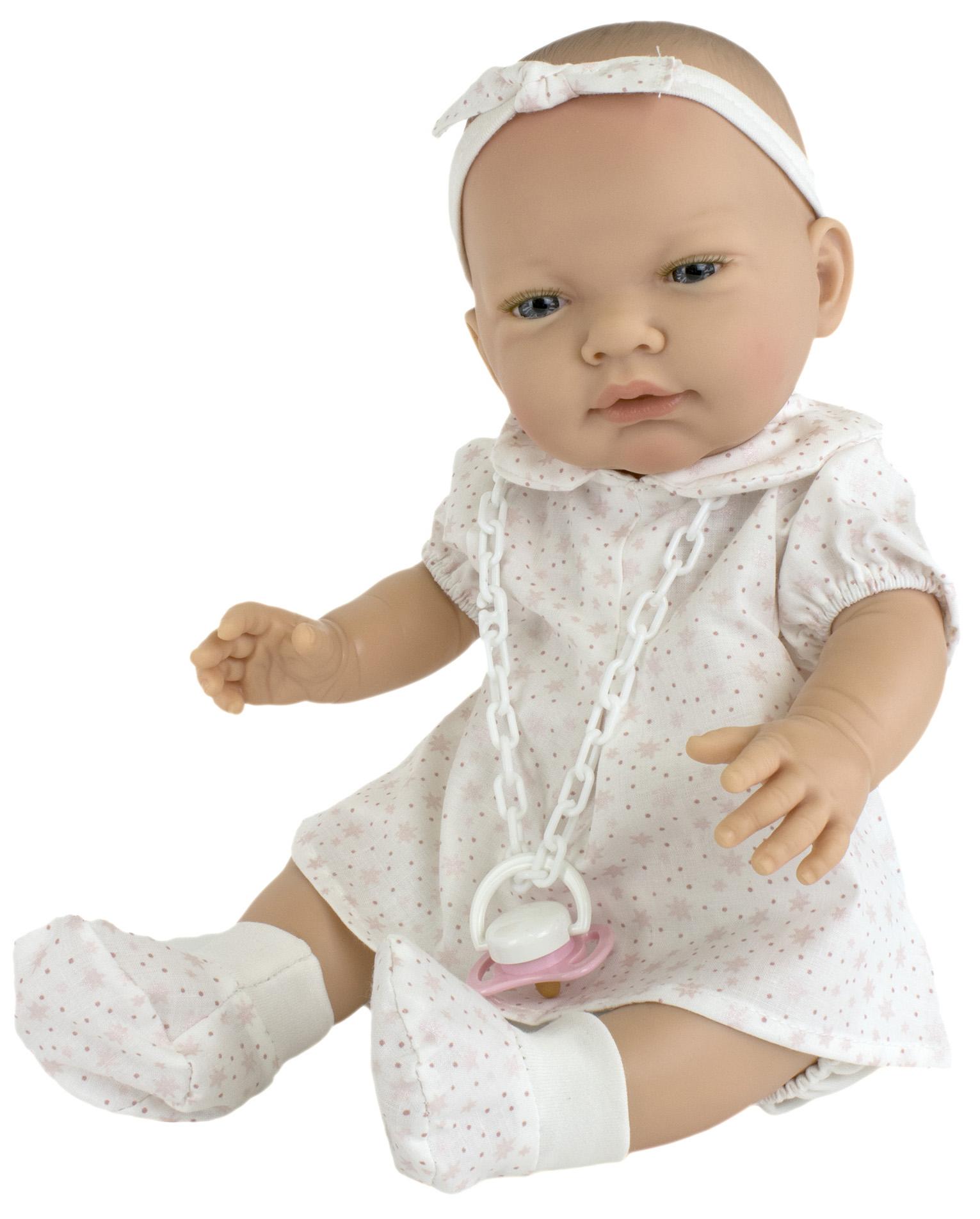 Пупс Nines d'Onil Новорожденная малышка, в одежде из натурального хлопка