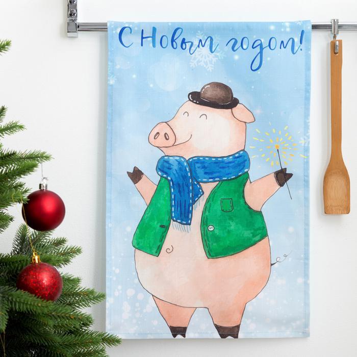 Кухонное полотенце ЭТЕЛЬ С Новым Годом, Дедуля 34х58