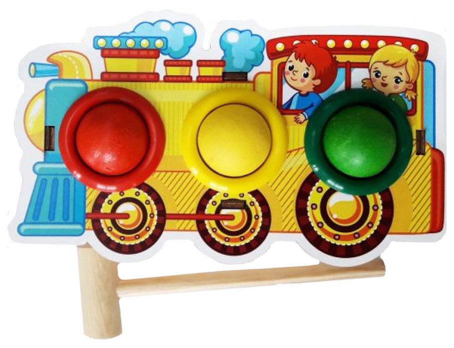 Развивающая игрушка Woodland Паровоз Стучалка цветная 115208