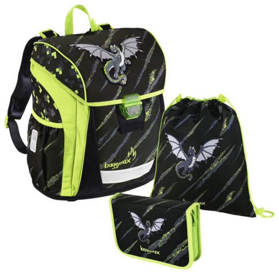 Купить Ранец детский Hama Step by Step BaggyMax Trikky Dragon 18 л черный зеленый 00139031,