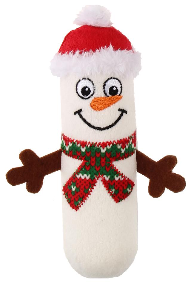 Мягкая игрушка для собак GiGwi Маленький снеговик с пищалкой, длина 18 см
