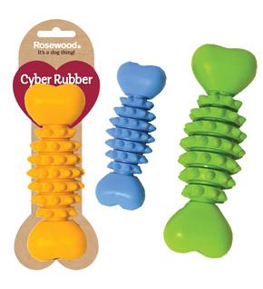 Жевательная игрушка для собак Rosewood Сyber Rubber Кость, в ассортименте, 20 см