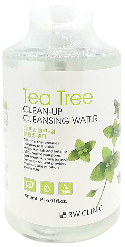 Очищающая вода 3W Clinic Tea Tree Clean-Up Cleansing Water 500 мл