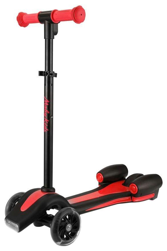 Купить Самокат трехколесный Moby Kids Junior Rocket 120 мм черно-красный 641157, Самокаты детские трехколесные