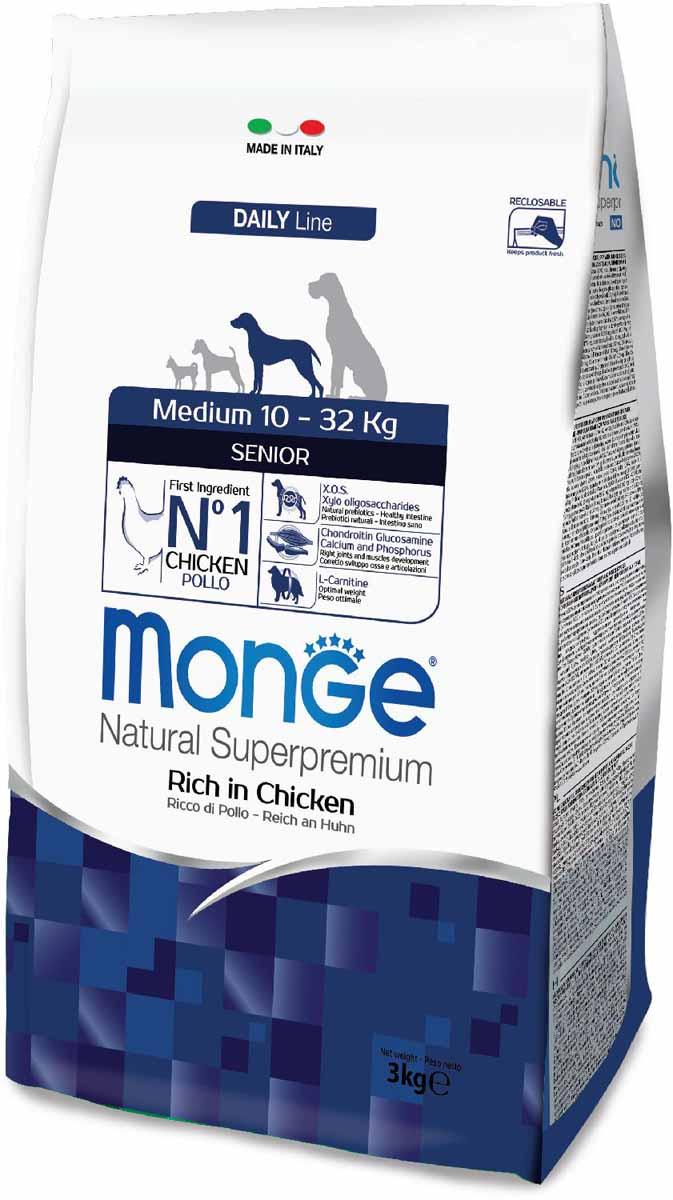 Сухой корм для собак Monge Medium Senior, для пожилых средних пород, курица, 3кг