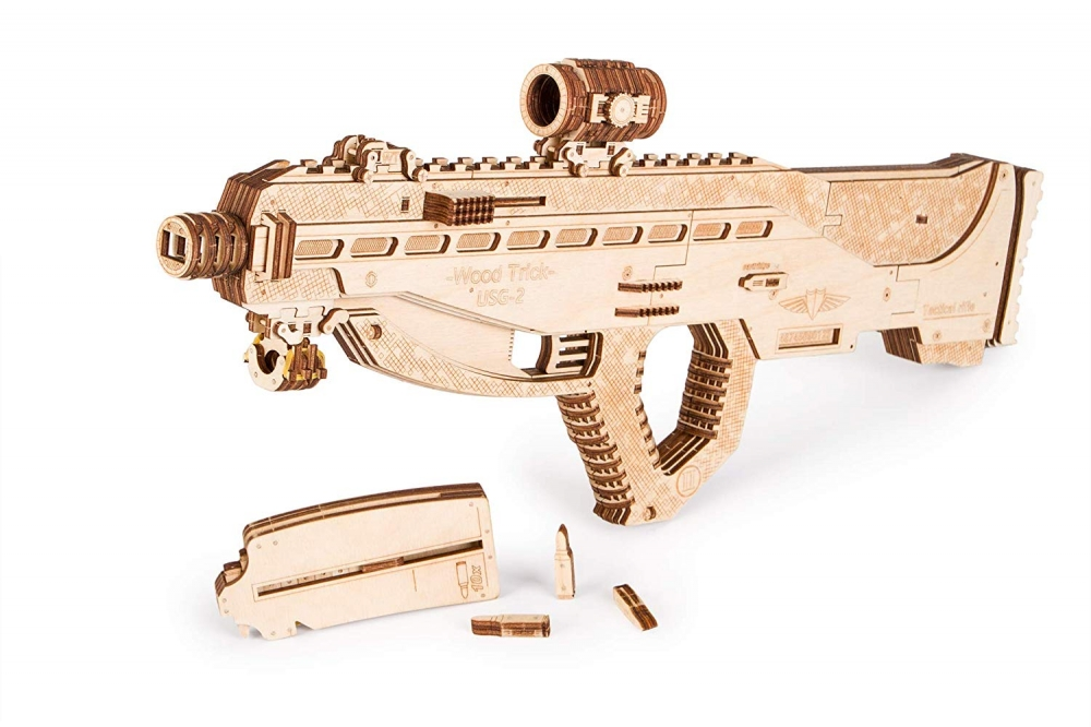 Купить Механическая сборная модель Wood Trick Штурмовая винтовка USG-2, Деревянные конструкторы