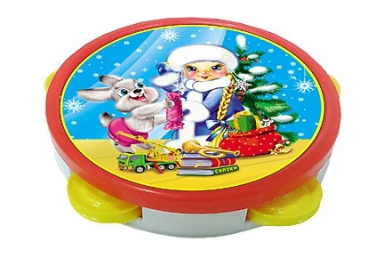 Бубен большой Снегурочка и зайчик Рыжий