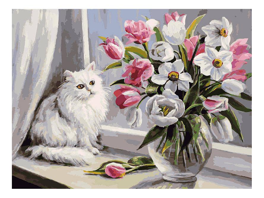 Раскраска по номерам Белоснежка Весна на окошке