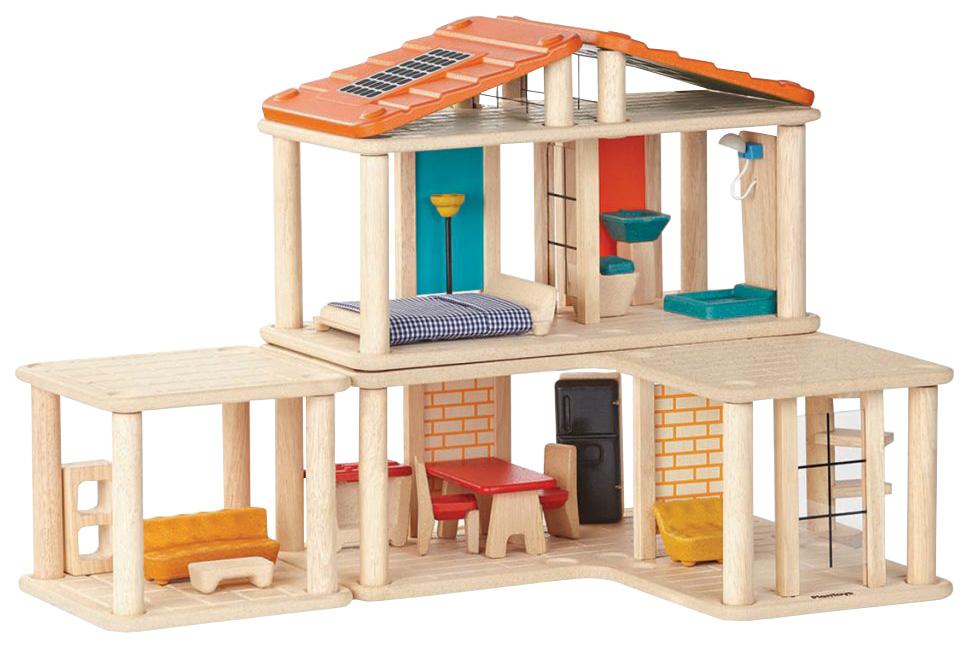 Купить Кукольный домик с мебелью 28 деталей 7610, Конструктор деревянный PlanToys Creative Play House Кукольный домик с мебелью 7610, Деревянные конструкторы