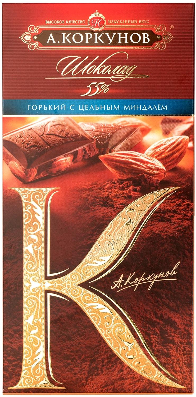 Шоколад горький Коркунов с цельным миндалем 90 г
