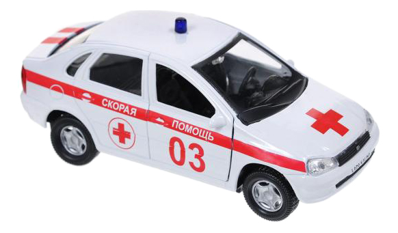 Машина спецслужбы Autotime Лада Калина 14,5 см бело-красный фото