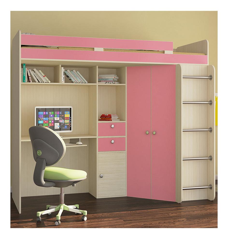 Кровать-чердак РВ мебель Астра дуб молочный/розовый
