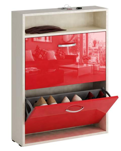 Обувница MFMaster Милан-25 МСТ-ОДМ-25У 60х17х88,2 см, дуб молочный/красный глянец