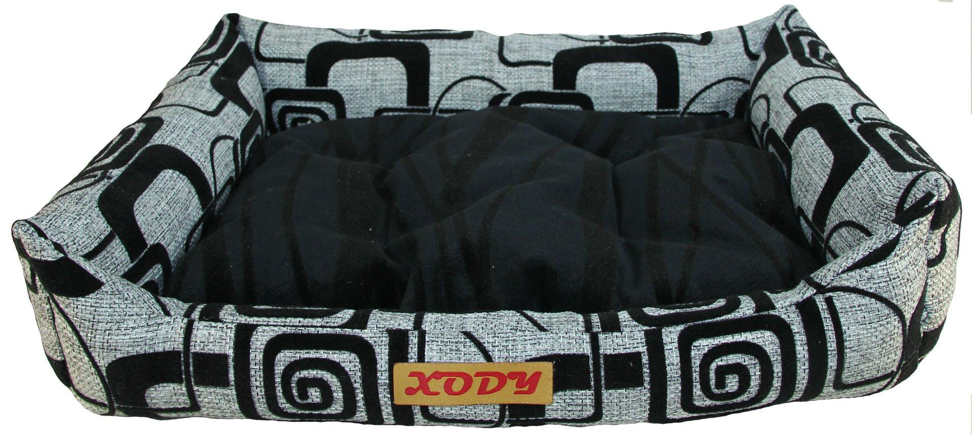 Лежак для собак и кошек Xody Люкс №2, флок, Серый, 60х50х15 см