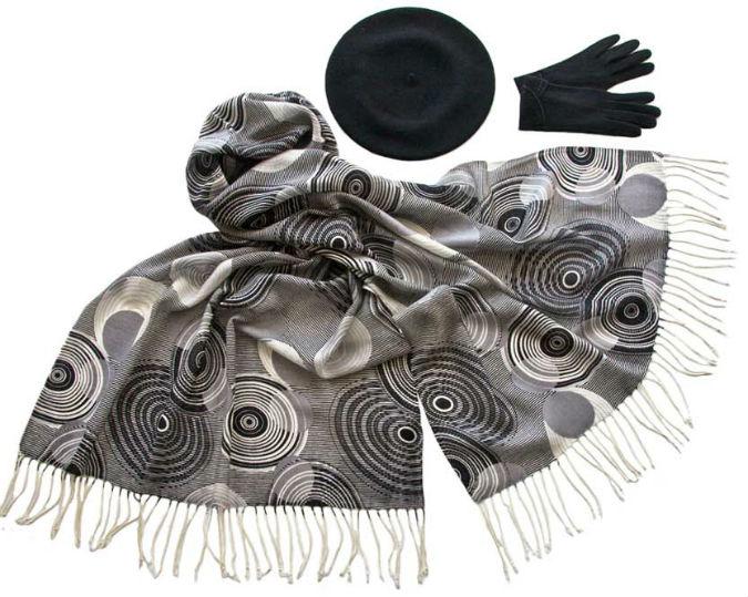 Комплект (берет, палантин, перчатки) Tonak/Tranini 45059 черный фото