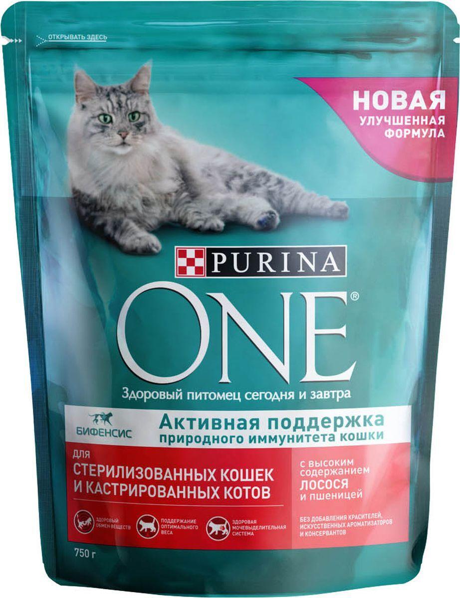 Сухой корм для кошек Purina One, для стерилизованных, лосось и пшеница, 0,75кг
