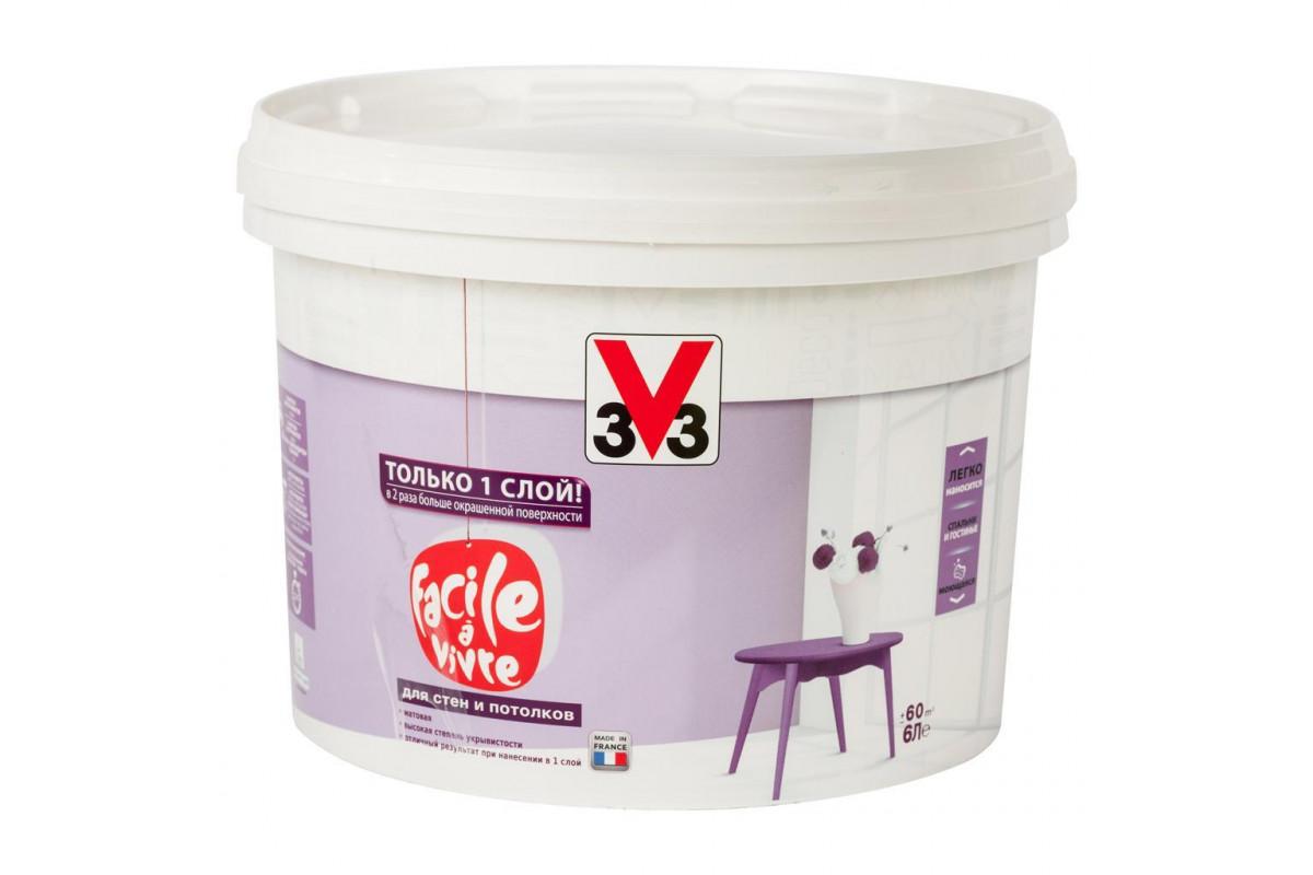 Краска V33 для стен и потолков FACILE LA VIVRE (V33) 6 л. Матовая латексная