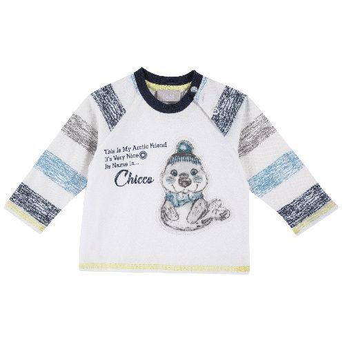 Купить 9054491, Лонгслив Chicco для мальчиков р.80 цв.белый, Кофточки, футболки для новорожденных