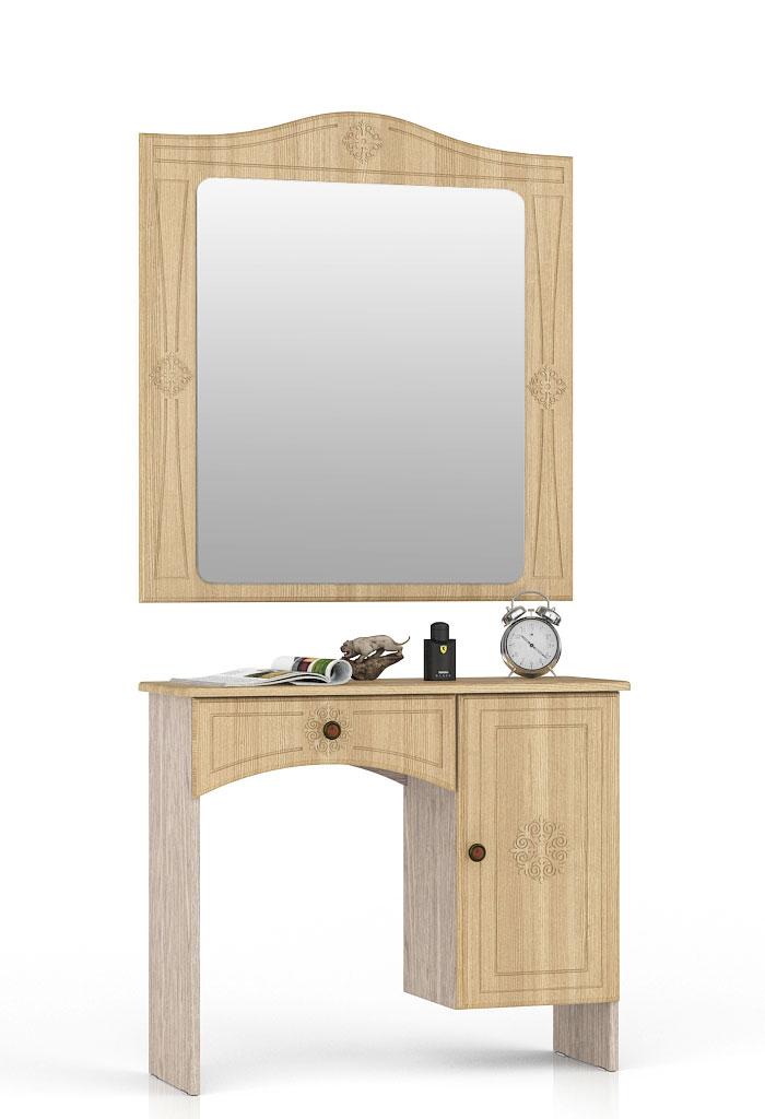 Туалетный столик с зеркалом Мебельный Двор Онега ТС-1+ЗН-1 лён/ясень шимо светлый фото